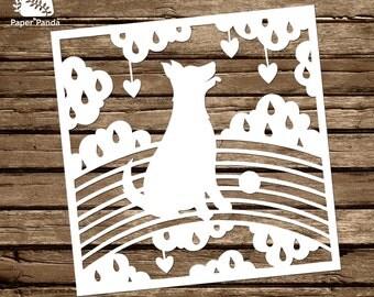 PAPER PANDA Papercut DIY Template - 'Rainbow Doggy' - Pet Loss