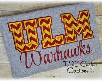 Embroidered ULM Warhawks applique spirit crew neck sweatshirt