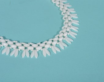 Vintage 1950s Necklace Western Germany White Milk Glass Choker Bridal Fashions