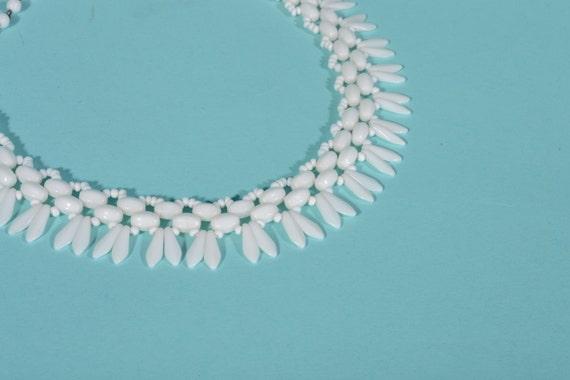 Vintage 1950s Necklace Western Germany White Milk Glass Choker Bridal Fashions