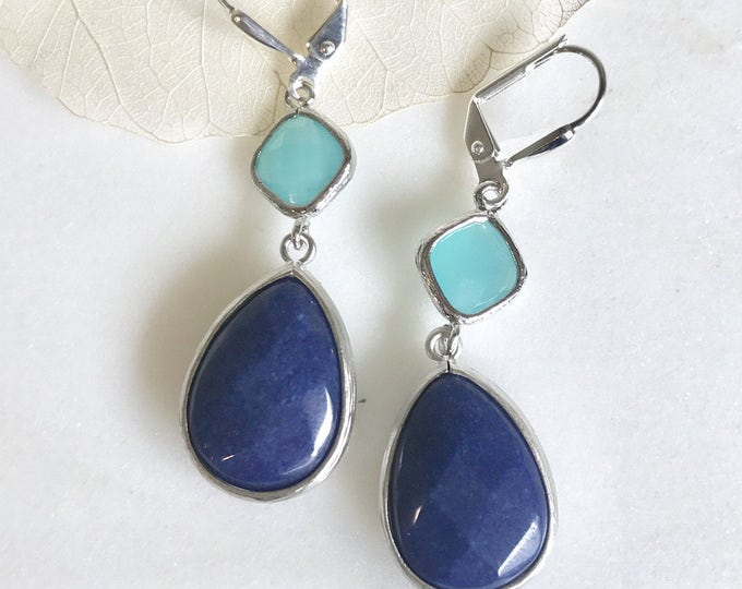 Navy Blue and Turquoise Jewel Gem Earrings in Silver. Dangle Earrings.  Bridesmaid Jewelry. Wedding Jewelry. Jewelry. Gift. Turquoise.