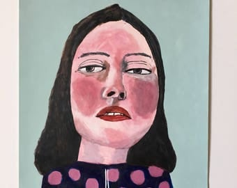Portrait painting // Bubblehead no. 98 // original painting // illustration on paper // original art // 9 x 12
