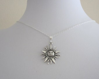 SUN sterling silver pendant charm with necklace chain, celestial necklace