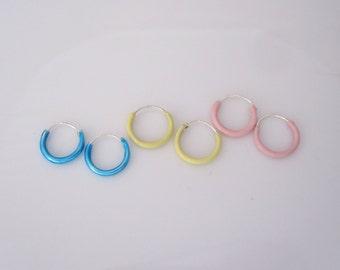 Pink, yellow or blue enamel 10mm sterling silver hoop sleeper earrings, girls hoops