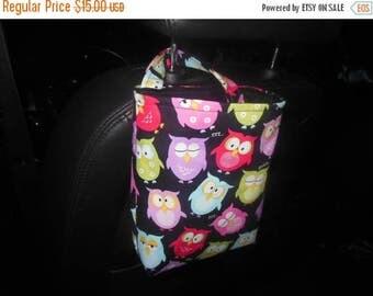 Owls car trash bag/accessory holder.