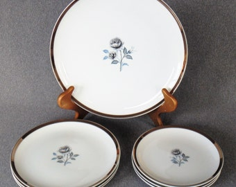 7 Pieces Of Royal Song Moonlight Rose 1 Round Serving Platter 3 Luncheon Plates And 3 Dessert Plates PRISTINE UNUSED CONDITION