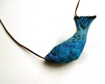 Blue Fish textile pendant