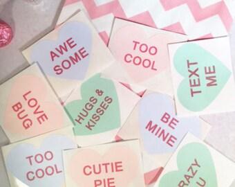 24 Valentine's Heart Stickers, Valentine's Conversation Stickers, Heart Message Stickers, Valentine's Candy Bag Stickers, Favor Box Stickers