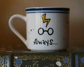 The Always Mug - Ready to ship, Gryffindor colors - Small Hand-Painted Ceramic Mug