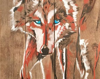 Lone Wolf - colorful wolf painting