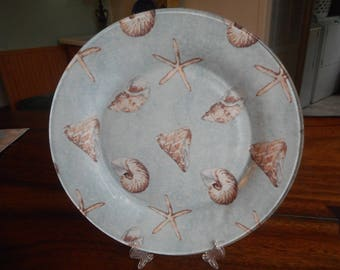 Fabric backed glass plate, sea shells, star fish, beach decor, shabby chic, collector plate, dinner plate, display plate
