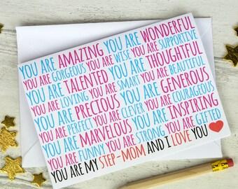 Step Mothers Day Card, stepmom card, stepmom birthday card