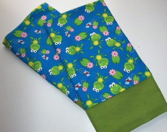 Flannel PAIR pillowcases FROGS Lilypads Nature kids novelty winter cuddly soft bedding winter linens