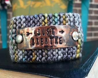 Just Breathe Faith Bracelet, Custom Handstamped Jewelry Cuff, Personalized Stamped Copper Cuff, Wrist Tattoo Cover