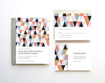 Geometric Wedding Invitation, Wedding Invitation, Wedding Invites, Printable Wedding Invitation Suite, Jewel Tone Wedding Invitation