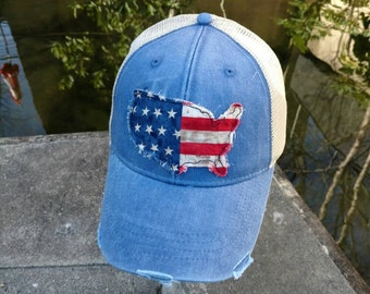 Women Distressed Trucker * Royal * USA *  American flag * Patch cap