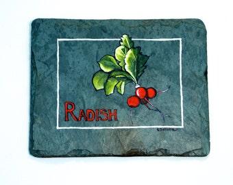 Radish Painting on Reclaimed Slate Original Kitchen Art