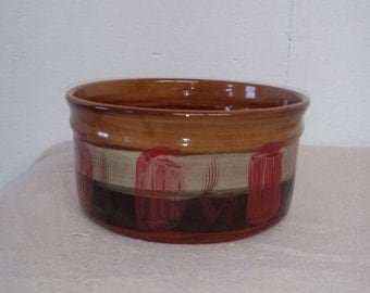 Mid Century Modern Planter Signed NAN High Gloss Glaze on Red Clay