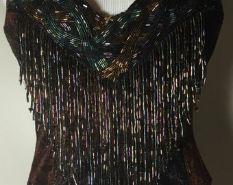 Amazing Vintage Brown Suede Multicolored beaded Gold Rhinestone Bustier