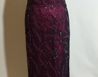 Sale Titanic Style Burgundy Rose Beaded Formal Vintage Gown