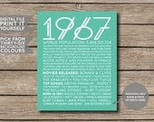 DIGITAL FILE - 1967 - Printable 50th Birthday or Anniversary Personalised Facts & Trivia Print Poster