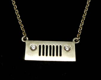 Silver Jeep Girl Necklace Choker -  Jeep Jewelry for Jeep Girl, off road girls jeep, Gift for Jeep Lovers