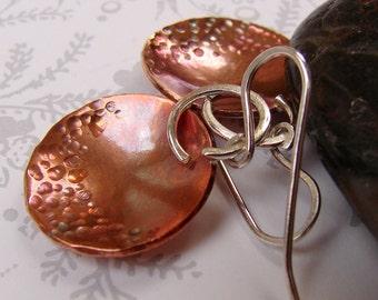 Copper Disc Earrings, Sterling Silver Earrings, Textured Minimalist Earrings, Forged Copper Dome Earrings, Mixed Metal Modern Earrings