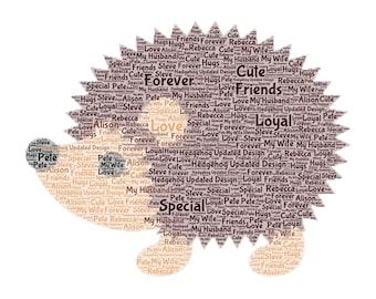 Hedgehog Word Art Print Only, Perfect Gift , Present, Birthday, Christmas