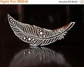 HOLIDAY SALE Pottery Stamp, Textile Stamps, Indian Wood Stamp, Tjaps, Blockprint Stamp- Feather