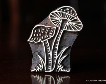 Hand carved stamp, Indian Wood Stamps, Blockprint Stamps, Tjaps, Pottery Stamps - Toadstool Mushrooms