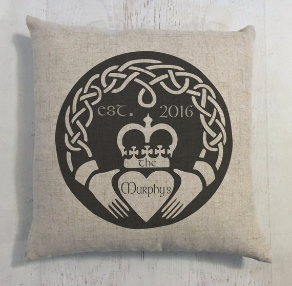 Irish Claddagh Wedding Ring Heart Custom Last Name Linen Style Pillow Wedding or Anniversary Gift