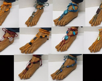 Wholesale - 10 pairs of colorful beaded barefoot sandals made with thick hemp.  Beach and bellydance fashion. FLOT-009