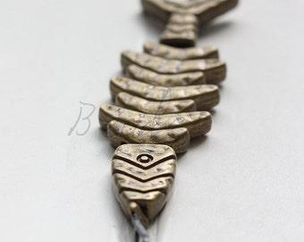 1 Piece / Fish Bone / Antique Brass / Base Metal / Pendant (Y39753//B437)