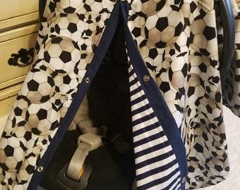 Car seat Canopy Soccer Navy Stripe