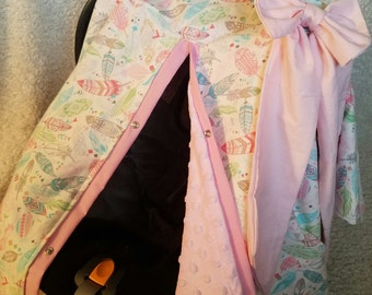 Carseat Canopy Pastel Feather Minky Cover with Large Bow READY TO SHIP