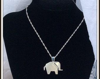 Origami  Artisan designer Elephant Argentium sterling silver pendant Sterling silver chain