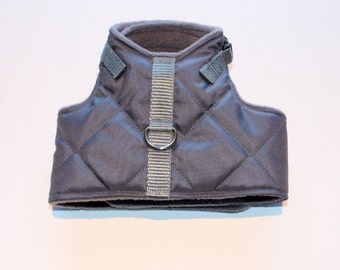 ONE only - Medium IG  - Grey Waterproof Quilted Italian Greyhound Harness - important see Details for measurements