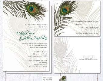 Peacock Feather Wedding Invitations, Green Feathers Wedding Invitation, Simple Wedding Invites, Peacock Wedding Stationery Set