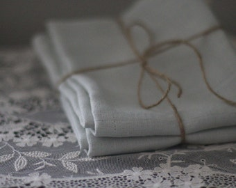 Linen Tea Towels - Linen Hand Towels - Guest Towels - Dish Towels - Soft Blue Linen - Eco Friendly Linen Towel - Set of Two