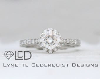 5.5mm Cushion Forever One Moissanite Flower Halo Cluster and Scalloped Conflict Free Diamond Engagement Ring LCDH036