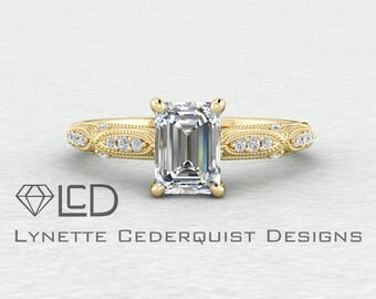 8x6mm Emerald Cut Forever One Moissanite Vintage Inspired Accented Engagement Ring LCDA046