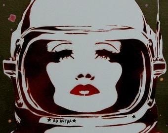 Graffiti Street Art Inspired Sci Fi Portrait 14 x 18 Painting AD ASTRA Comicon Art Female Astronaut Fantasy Artwork Canvas Graffiti Canvas