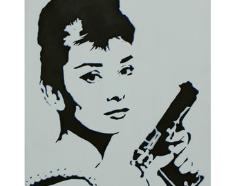 Audrey Hepburn Painting Breakfast at Tiffanys Portrait BLOODBATH at TIFFANYS 14x18 Artwork Graffiti Stencil Original Painting Pop Art Pinup