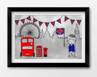 Printable British Wall Art, London Skyline, 12x8 Instant Download Illustration by Sleepy Cloud Studios