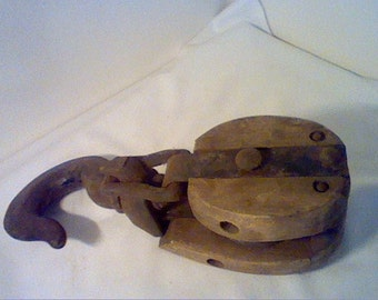 "Large 11"" vintage rustic barn wood pulley with cast iron hook with a star and 6 marked on the hook"