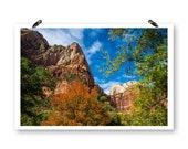 Mountain Print, Zion National Park, Digital Download, Print Your Own,  Mountain Wall Art, Nature Photos, Fall Print, Nature Print