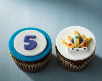 Fondant Crown and Age Toppers for Cupcakes or Other Treats