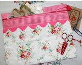 SALE Vintage Roses and Pink Gingham Cross Stitch, Sewing, Embroidery Project Bag