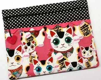 Indochine Fuku Kitty Lucky Cat Cross Stitch Embroidery Project Bag