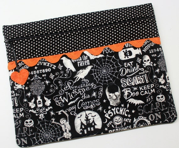 Halloween Chalk Art Cross Stitch Embroidery Project Bag